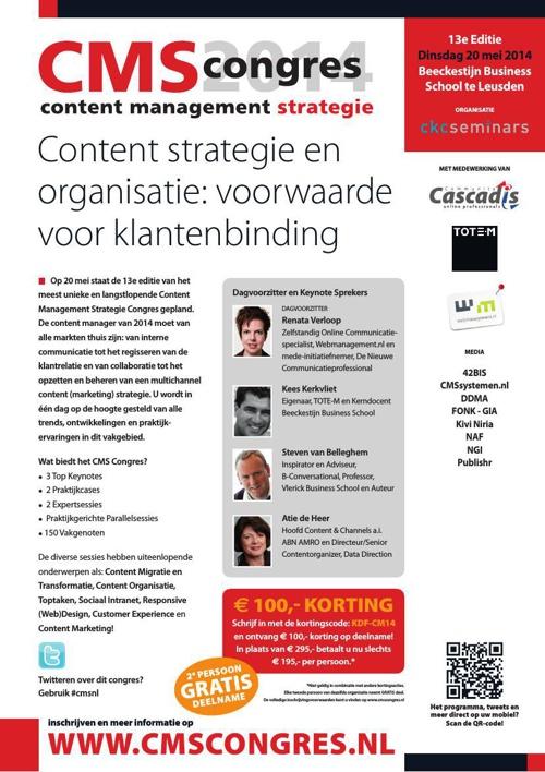 CMS Congres 2014 - Content strategie en organisatie: voorwaarde.