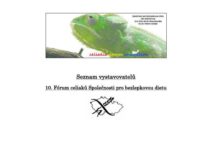 10. FÓRUM CELIAKŮ - seznam vystavovatelů