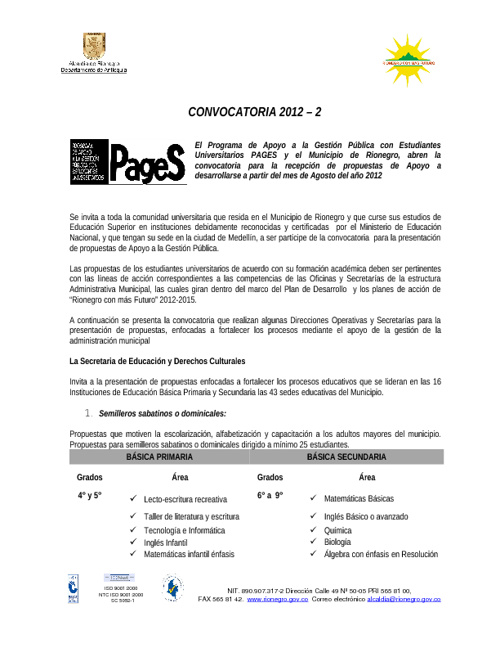 Convocatoria 2012-2