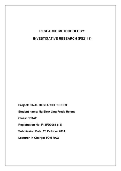 Investigative Research Methodology Report