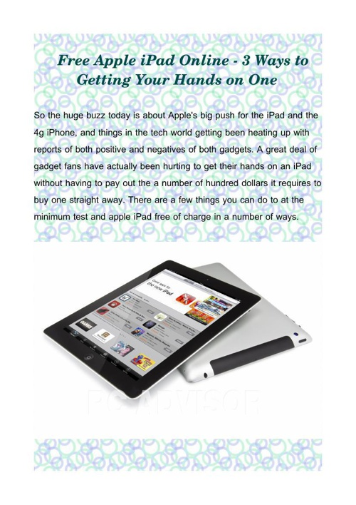 Free Apple iPad Online - 3 Ways to Getting Your Hands on One