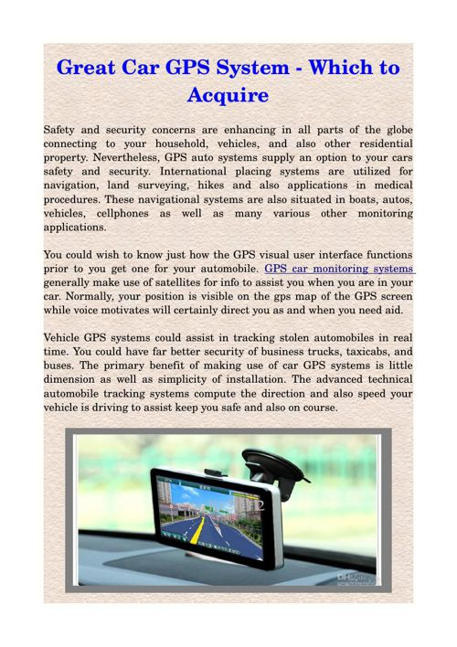 Great Car GPS System - Which to Acquire