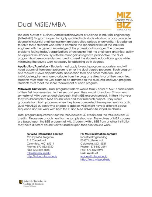 MSIE-MBA Dual Degree Information
