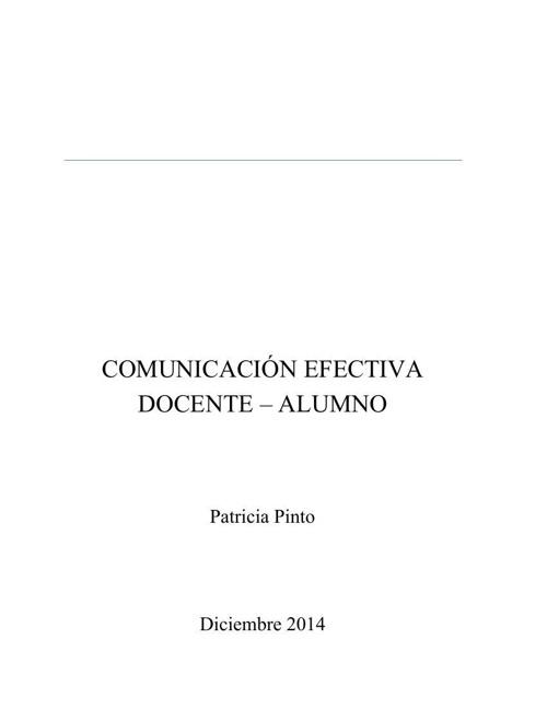 Comunicación efectiva Docente - Alumno
