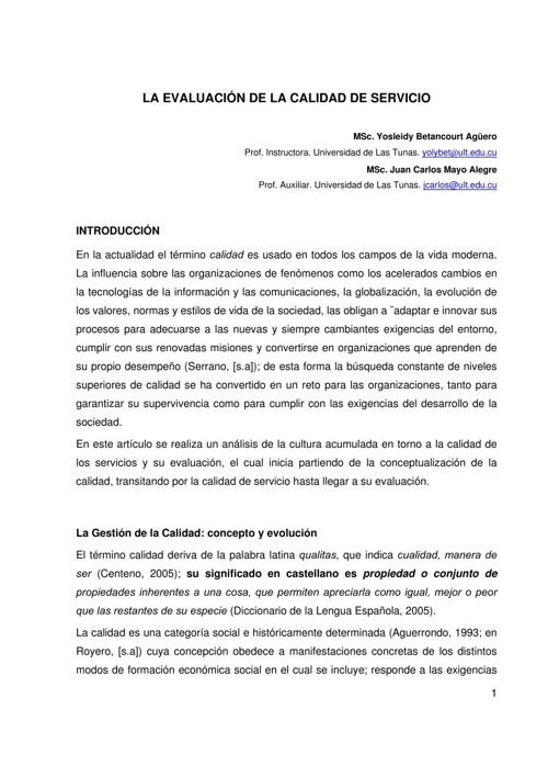 LA EVALUACIÓN DE LA CALIDAD DE SERVICIO