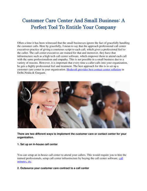 Customer Care Center And Small Business A Perfect Tool To Entitl