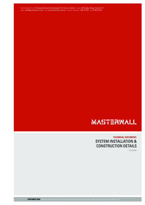 MasterWall System Installation & Construction Details Manual