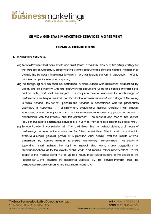 SBMCo Service Agreement Terms