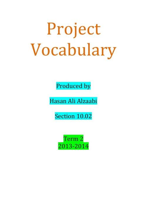 Project vocabulary HasanAlzaabi