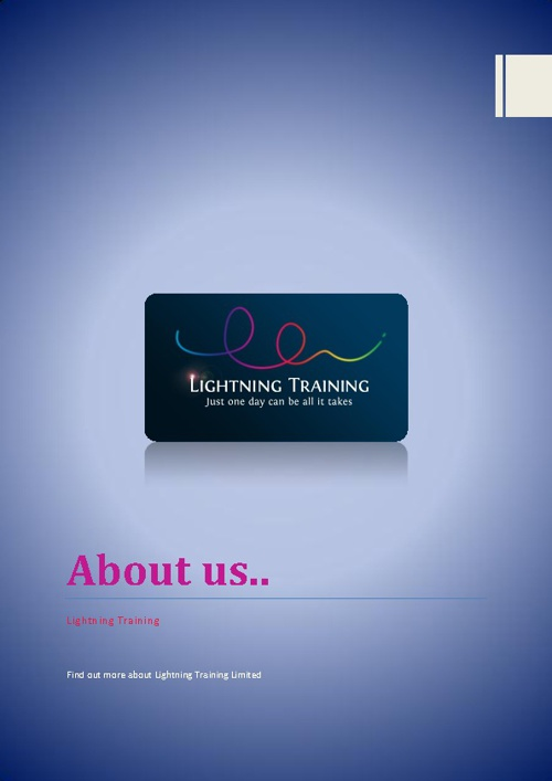 Lightning Training Limited - Upgrade Training for TBO Investment
