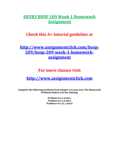 DEVRY BSOP 209 Week 1 Homework Assignment