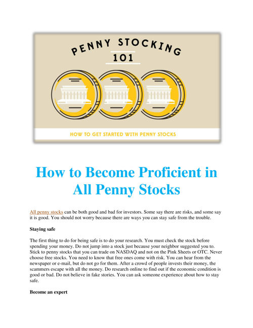 How to Become Proficient in All Penny Stocks