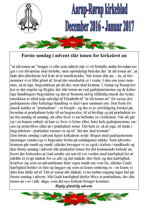 Kirkeblad  december-januar  Aarup-Rørup 2016-17