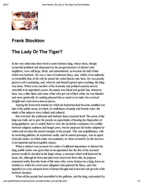 The Lady or the Tiger 8th