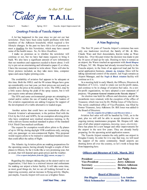 Tuscola Airport Newsletter - Spring 2012