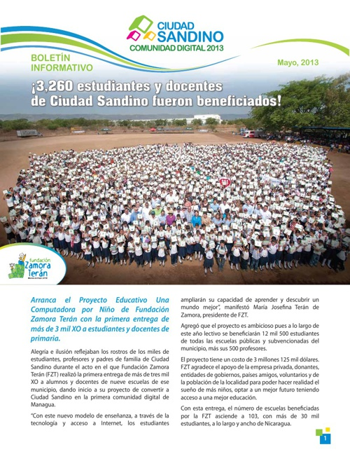 Boletín Mayo: Ciudad Sandino