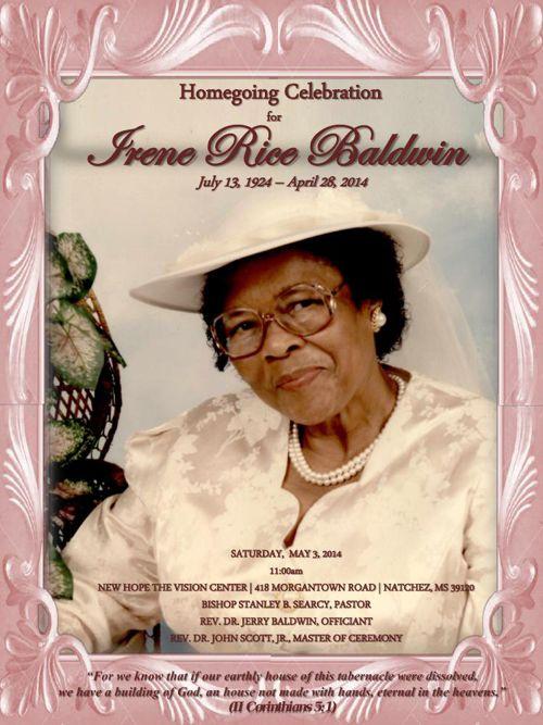 Funeral Program: Irene Baldwin
