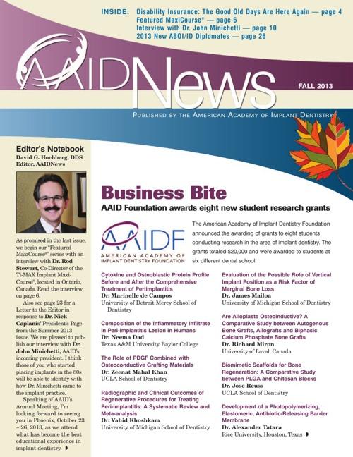 AAID Fall 2013 AAID News