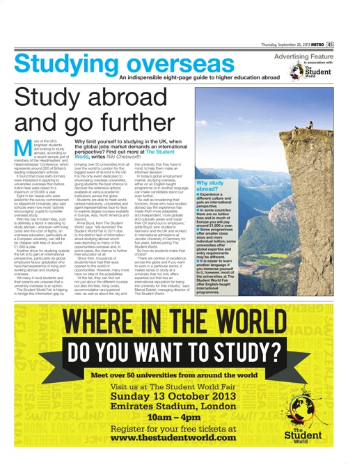 The Student World - London Metro study abroad feature