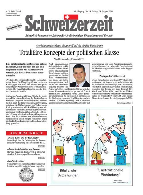 Schweizerzeit Nr. 16 vom 29.08.2014