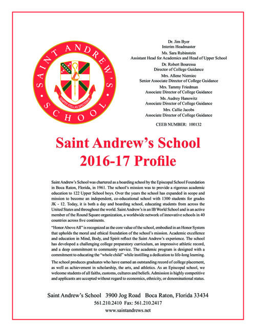 Saint Andrew's School Academic Profile 15-16