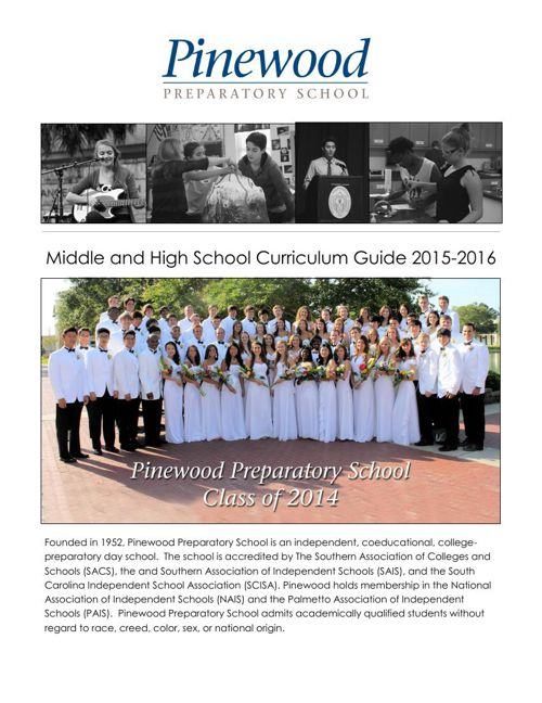 Pinewood Curriculum Guide 2015-2016