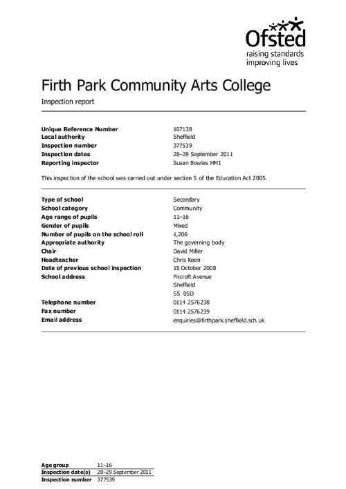 Firth Park Ofsted Report