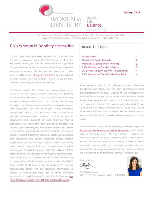 Spring 2015 PA's Women in Dentistry Newsletter