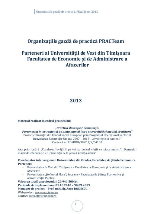 PRACTeam - Volum prezentare Organizaţii gazdă Timișoara, 2013