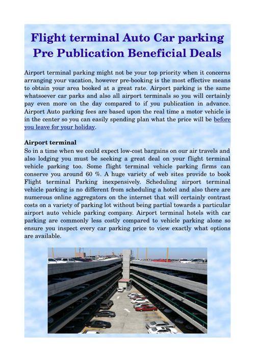 Flight terminal Auto Car parking Pre Publication Beneficial Deal