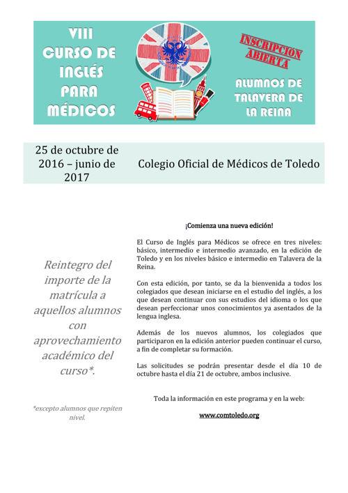 Programa Curso Inglés Médicos 2016_17 TALAVERA