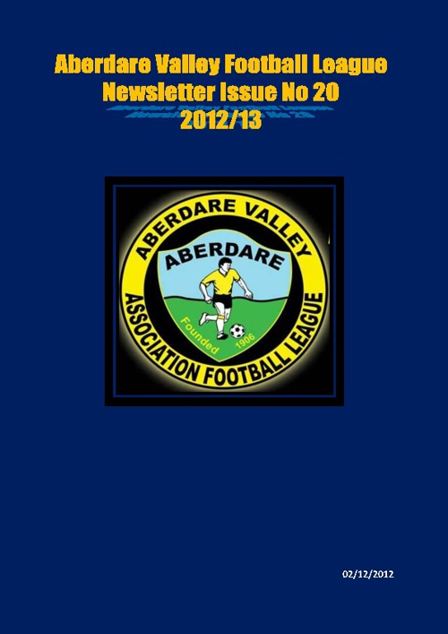 ABERDARE VALLEY FOOTBALL LEAGUE NEWSLETTER ISSUE 20