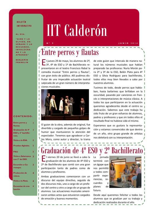 Boletín de junio del IES Calderón de la Barca de Pinto