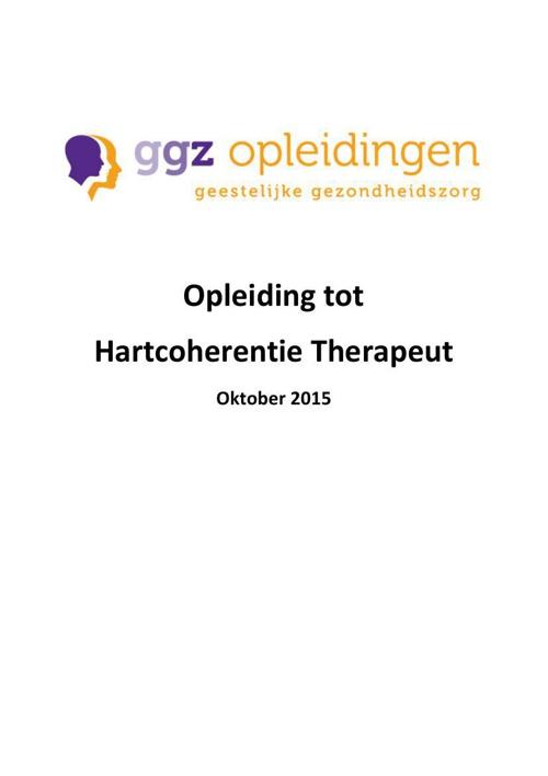 GGZ Opleidingen Brochure Opleiding tot  Hartcoherentie Therapeut