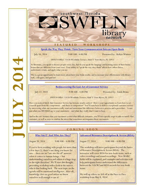 SWFLN July 2014 CE News