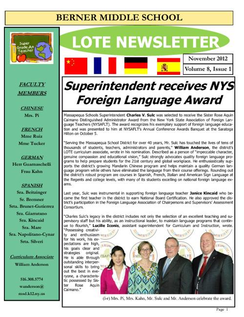 Berner LOTE Newsletter Nov 2012