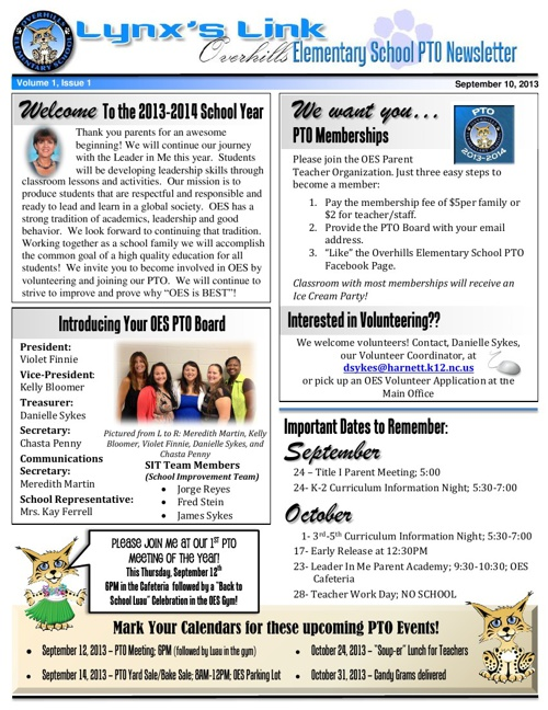 OES September Newsletter