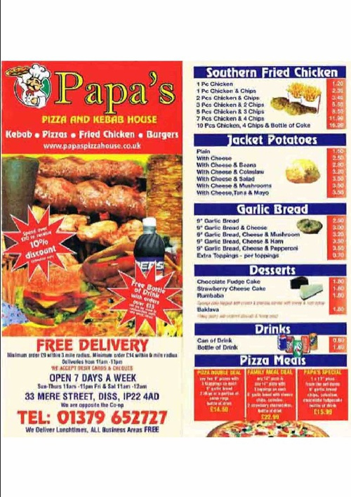 Papas Pizza and Kebab House Menu