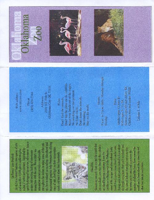 6th Grade Zoo Brochures 2012