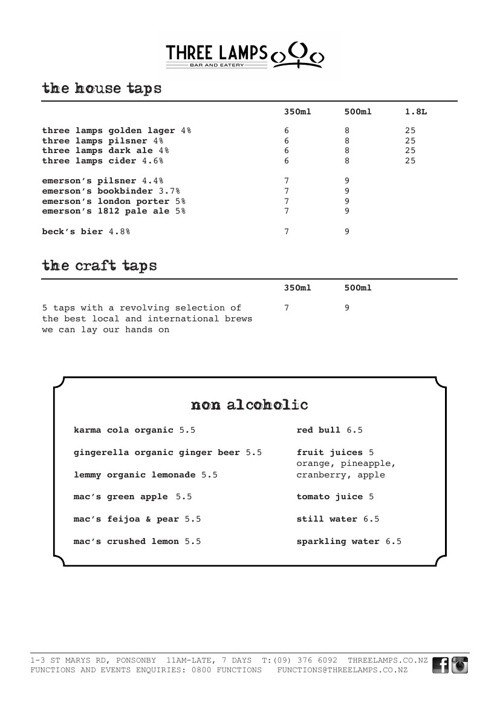 Three Lamps Beer Menu - November