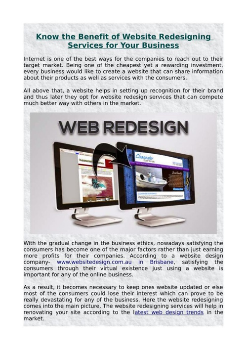 Know the Benefit of Website Redesigning Services for Your Busine