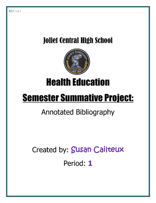 Annotated Bibliography: Health Education