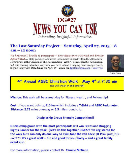 ASBC DG#27 - News You Can Use as of 4-23-13