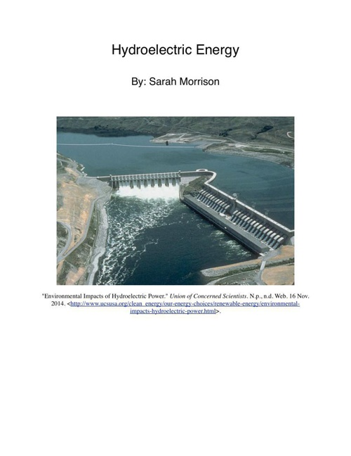hydroelectric energy pdf