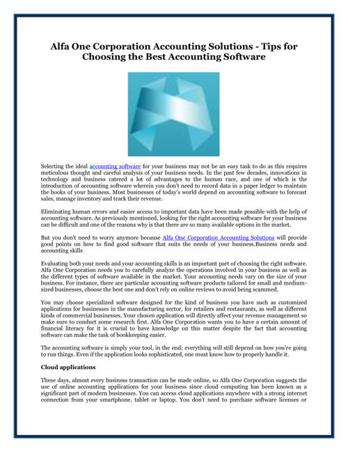Tips for Choosing the Best Accounting Software