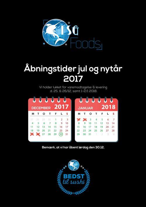Julen 2017 åbningstider