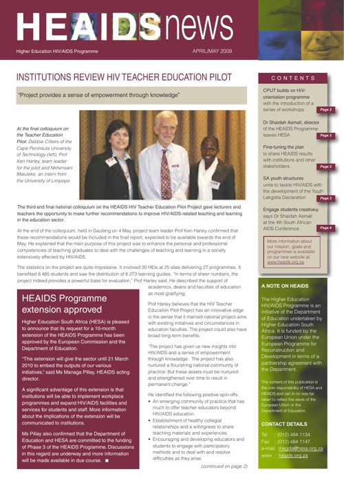 HEAids April news