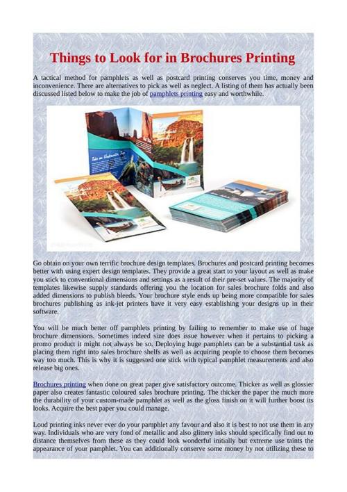 Things to Look for in Brochures Printing