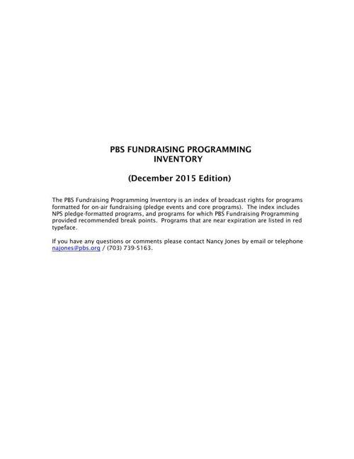 December 2015 Program Inventory