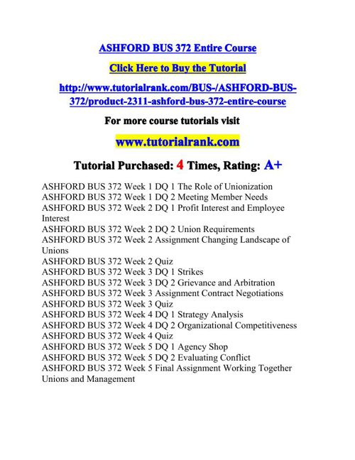 BUS 372 Potential Instructors / tutorialrank.com